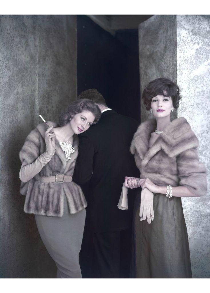 Suzy Parker and Simone d'Aillencourt wearing mink jackets by Holt Renfrew & C° (Fur Clothing) 1959 © Virginia Thoren