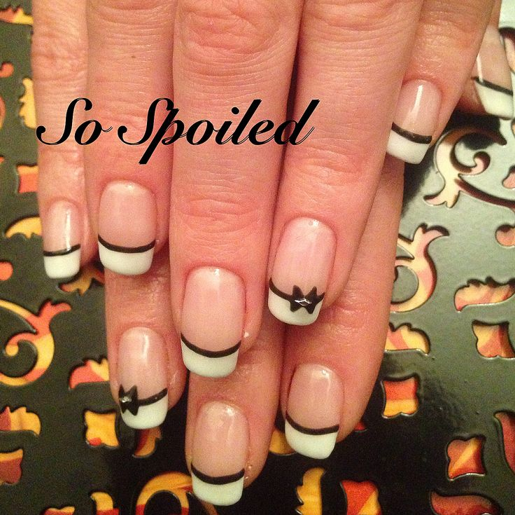 Bio Sculpture Nail Art & Design - elegant black and white gel nails for the RCMP Regimental Ball. French with black detail and rhinestone bows. Featured gels: #2017 Liquorice & #3 Snow White