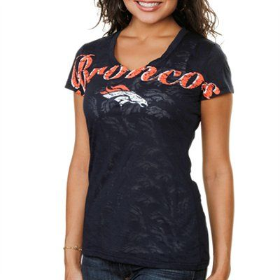 Denver Broncos Women's B3 Burnout V-Neck T-Shirt - Navy Blue  #FanaticsWishList