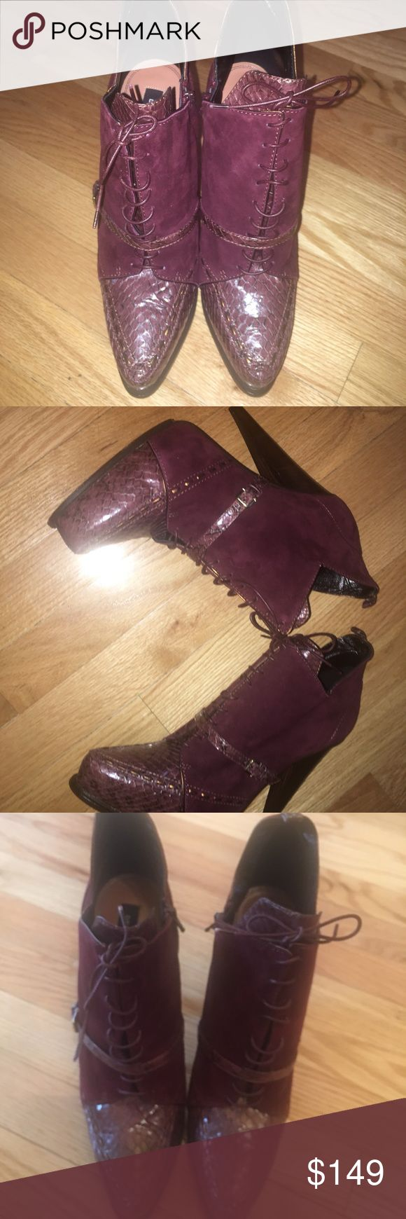 "Derek Lam suede prune color boots size 10 These are new in box w dust bag. They are a prune color snake/suede with a side zipper. Lace up. Thick 5""heel. Made in Italy. These are a size 10m and they run true to size. Derek Lam Shoes Ankle Boots & Booties"