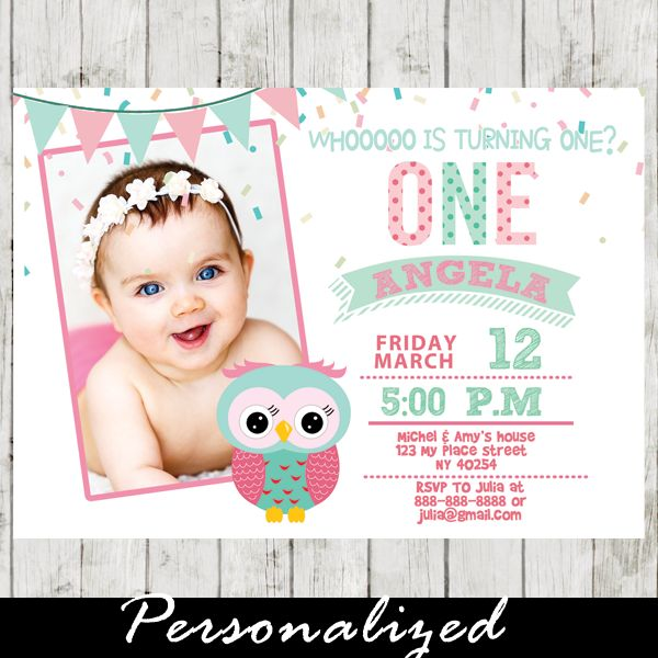 Adorable baby girl first birthday owl theme photo invitation. This printable Owl…
