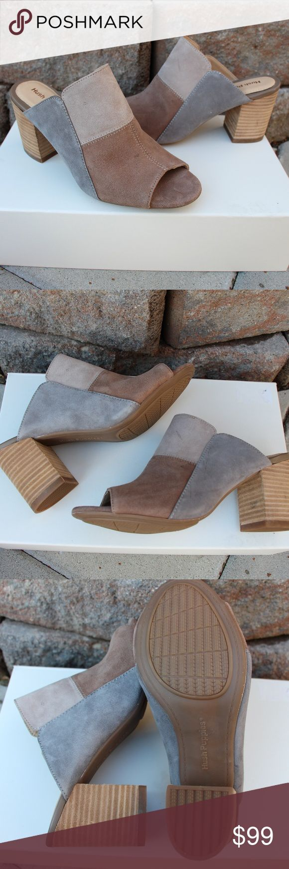 Suede Block Heeled Mules-Sandals Hush Puppies patch design suede heel, clog, mule, sandal creme, grey, and light brown colors block heels, super confrotable *NEW- never worn *imperfections shown in last 2 pictures Hush Puppies Shoes Mules & Clogs