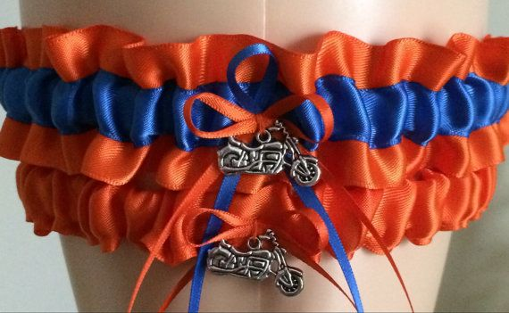 Orange and Royal Blue Garter Set Wedding by WeddingGarterStore