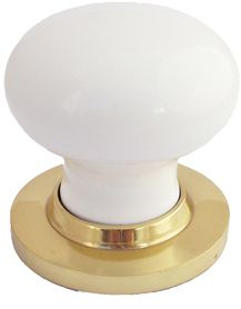 Chatsworth White Porcelain Mortice Door Knobs, Polished Brass Backplate - BUL602-PBBUL33-WHI None