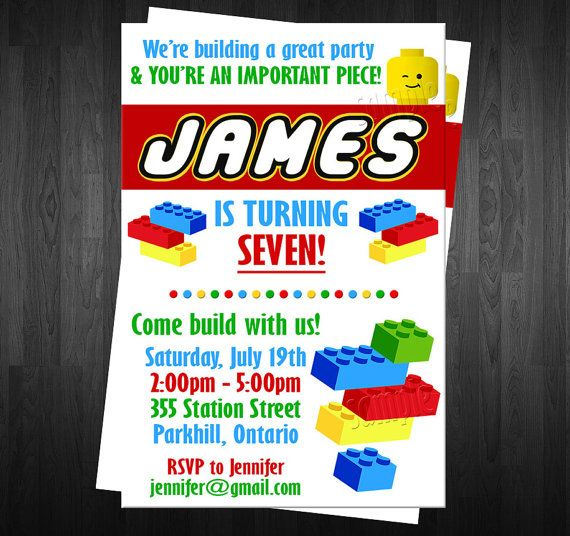 BLOCKS  Birthday Invitation Custom Digital File DIY Photo LEGO Birthday Invite