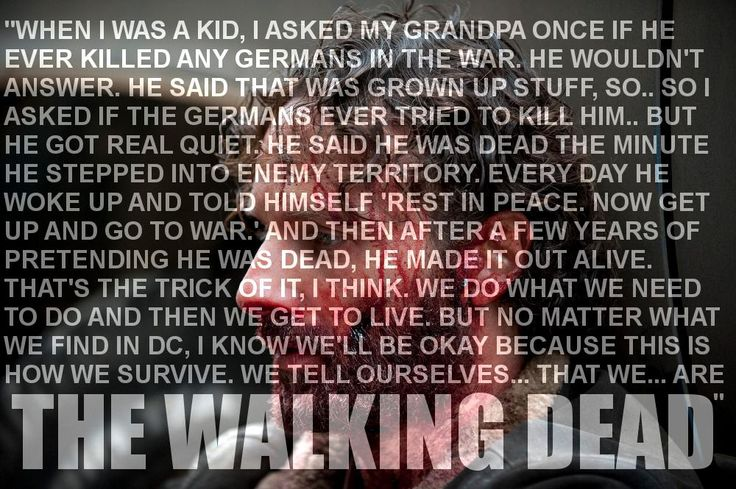 The show is the walking dead not because of zombies but because they have become the walking dead, they are humans but they are actually dead inside, rick died a long time ago, back in the hospital, he'd never be the same again....