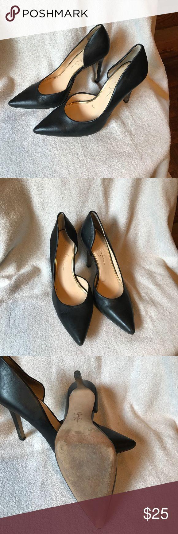 Black pumps Black leather pumps, 4 1/2 inch heel Jessica Simpson Shoes Heels