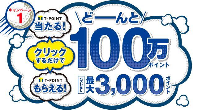 キャンペーン1 クリックするだけでTポイント当たる!Tポイントもらえる!どーんと100万ポイント 期間中に対象ブランドを利用してポイントを貯めると最大3,000ポイント