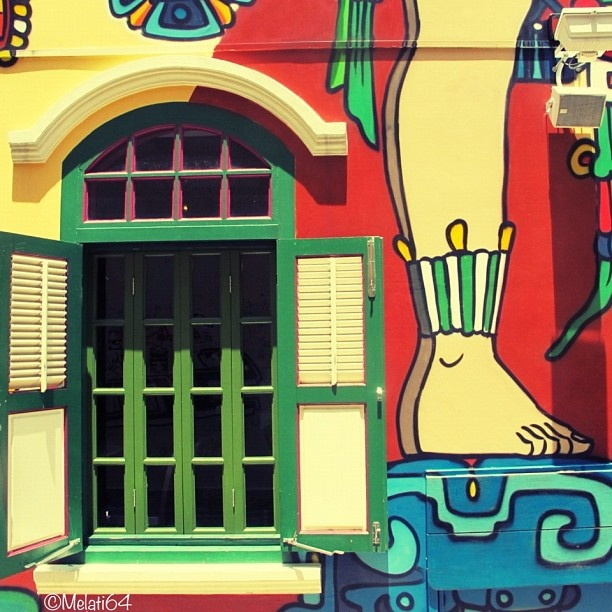 Another colorful wall in this lovely neighbourhood Kampong Glam   Singapore by Melatipics, via Flickr