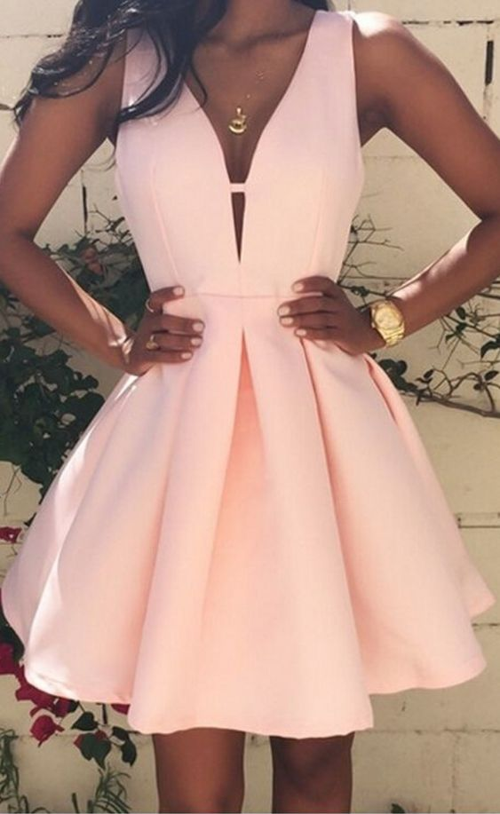 Hot Sale Pink Homecoming Dresses Sexy V-Neck Sleeveless