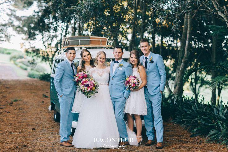white bridesmaids dresses Melany wedding with a Kombi