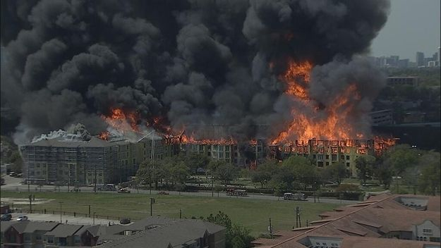 Massive Fire Destroys Apartment Building In Downtown Houston