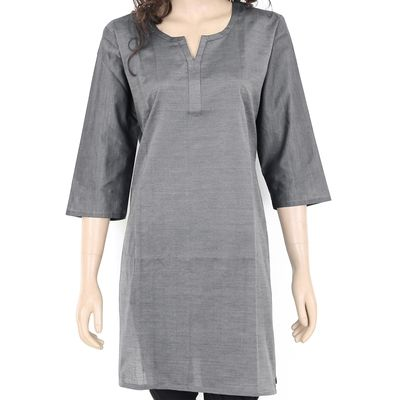 10% off on Thea Women's Plain Kurta - Ladies Cotton Kurti - Dark Gray Top  Free shipping in India. COD available. We deliver worldwide.