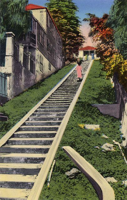 vintage st thomas usvi vintage postcard 99 steps street st thomas