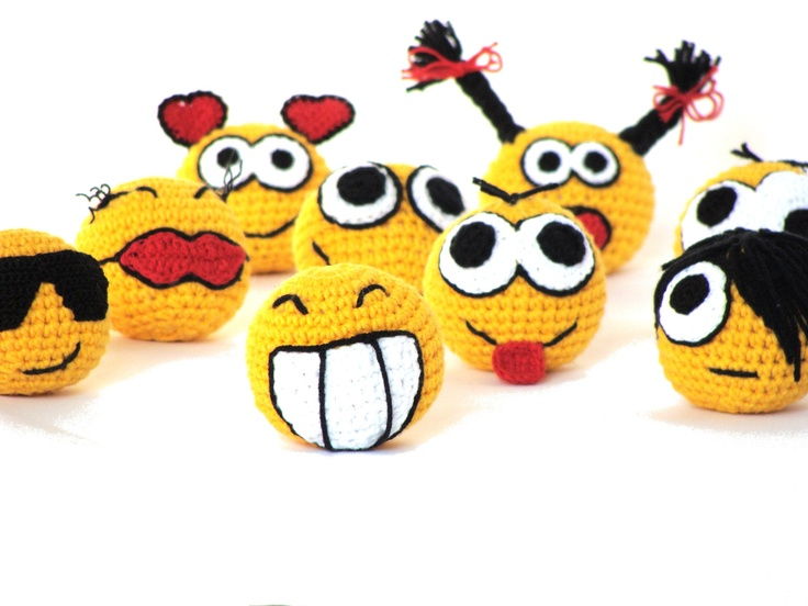 Crochet amigurumi smiley faces - full set