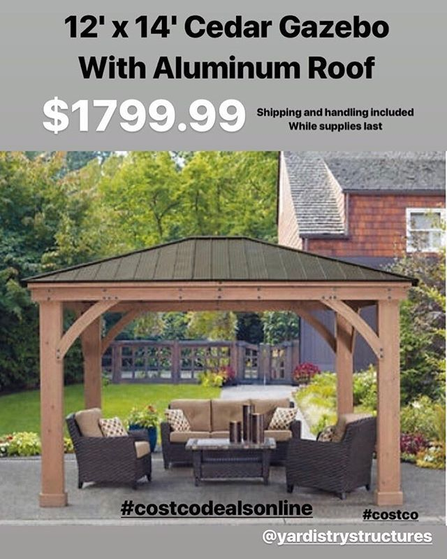 12 X 14 Cedar Gazebo With Aluminum Roof By Yardistrystructures For 1799 99 With Shipping And Handling Included Aluminum Roof Gazebo Country Cottage Living