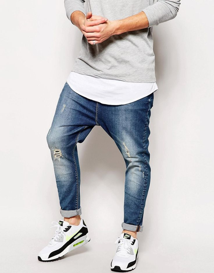 Image 1 ofASOS Drop Crotch Jeans With Rip And Repair Detail
