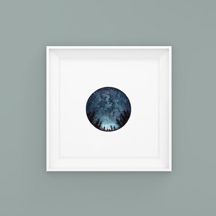 Watercolour Art Print, Starry Sky, Forest Art, Home Decor, Circle Art, Night Sky, Nature Print, Space Art, Blue, Tree Art, Landscape Print by StudioFactotumUK on Etsy https://www.etsy.com/uk/listing/256867420/watercolour-art-print-starry-sky-forest