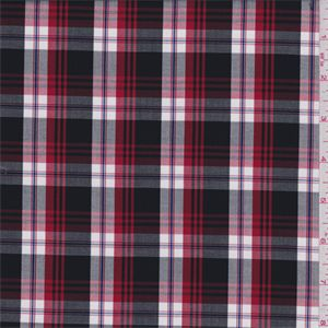 Black, cherry red, white and cobalt blue yarn dyed plaid. This lightweight premium woven cotton fabric has a soft feel and crisp hand.Compare to $10.00/yd