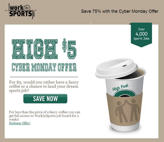 Work In Sports $5 Cyber Monday Offer