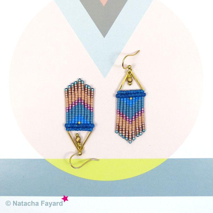 Micro macrame dangle earrings, with miyuki delica earrings - chevron patterns. Colors : pale yellow, linen, green, fuchsia. © #earrings #miyuki #delica #macrame #micromacrame #multicolore #ss2017 #blue #lapis #lapisblue #niagara #peach # hazelnut #fuchsia #pink #gold #etsy