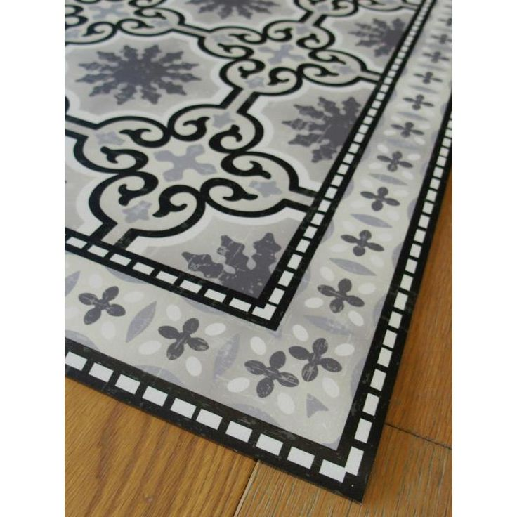 tapis vinyle pvc motifs carreaux de ciment noir et blanc. Black Bedroom Furniture Sets. Home Design Ideas