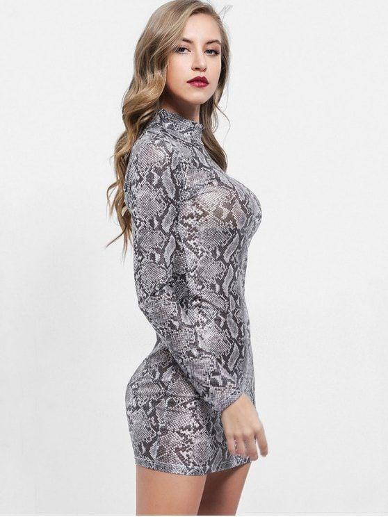 e72ea3a368 Mock Neck Snakeskin Print Bodycon Dress in 2019 | Trendy Fashion ...