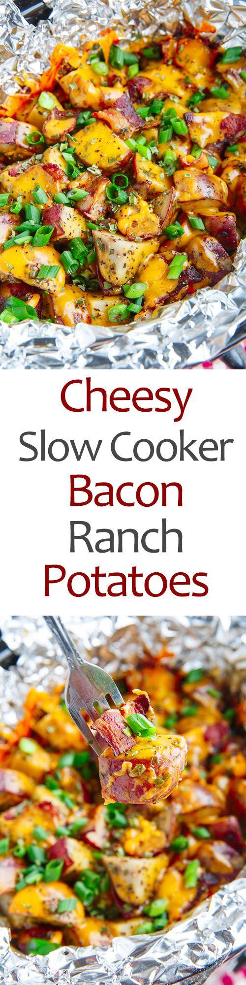 Cheesy Slow Cooker Bacon Ranch Potatoes