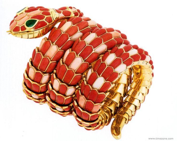 bulgari serpenti watch in gold with coral emeralds and diamonds c