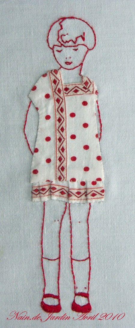 redwork & applique doll