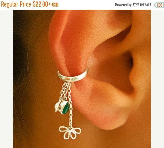 IN vendita 15% di sconto argento Ear Cuff - orecchio Wrap - avvolgere - occhini con pietra dure - onice Ear Cuff - Earcuff gioielli - cartilagine orecchini (codice: