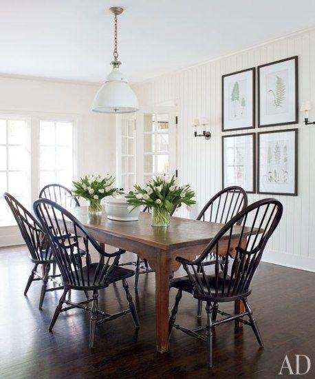 black windsor chairs. industrial pendant. farmhouse table.