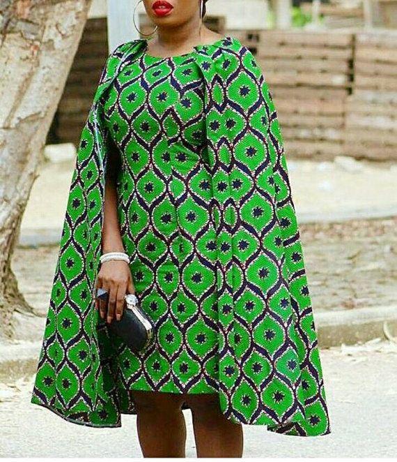 African Print Midi Cape Dress || African Print Cape Dress, Ankara Midi Dress