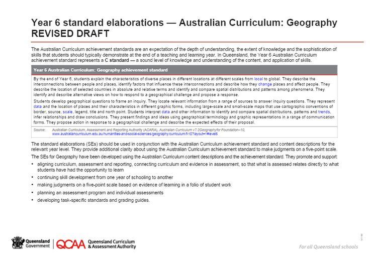 Year 6 Geography - standard elaborations