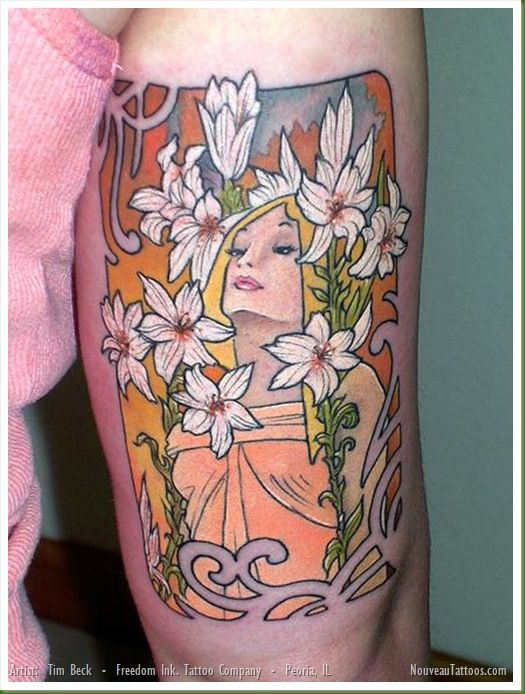 Art Nouveau Flower Tattoo: Jugendstil - Art Nouveau