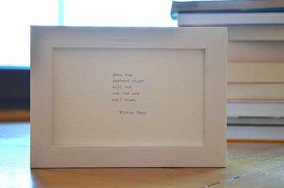 Framed Victor Hugo quote handmade paper by photoplasticon on Etsy