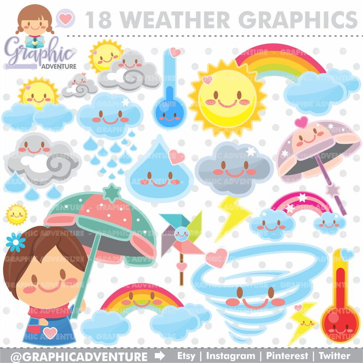 75%OFF - Weather Clipart, Weather Graphics, COMMERCIAL USE, Weather Clip Art, Kawaii Clipart, Weather Party, Planner Accessories, Graphics