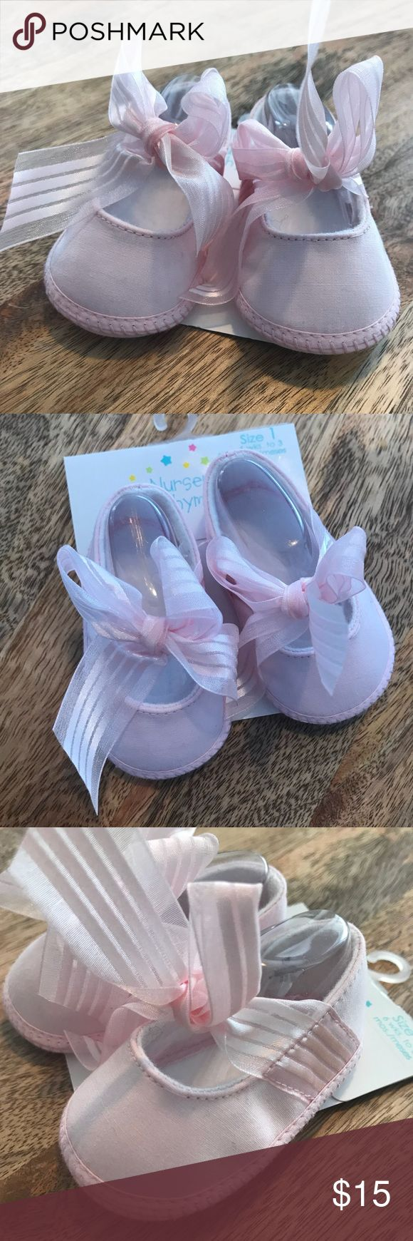 Nursery Rhyme Pink Baby Ribbon Shoes NWT. Beautiful ribbon detail. Bundle and save! Nursery Rhyme Shoes
