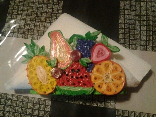 Paper quilled napkin holder