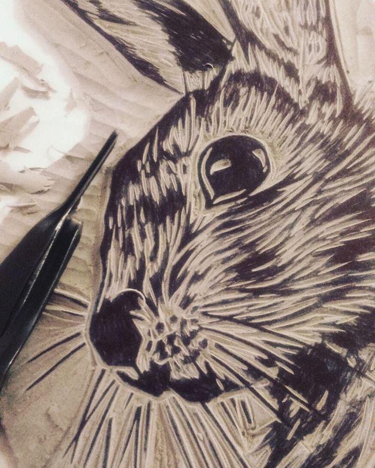 #linocut #linoprinting #reliefprint #blockprint #rabbit #etsy