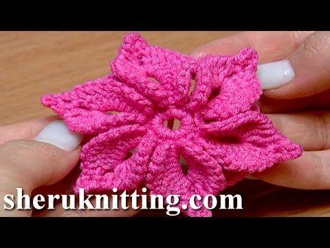 Crochet 3D Flower Tutorial 46 Fleur au crochet facile à réaliser - YouTube