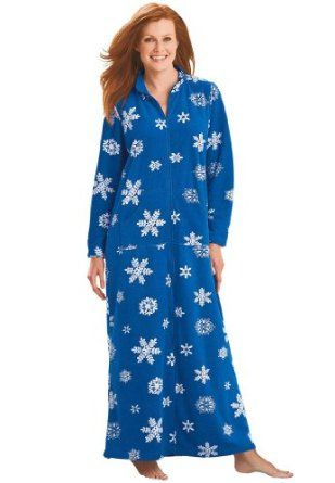 Dreams &Amp; Co Plus Size Long Zip Front A-Line Microfleece Robe (Cobalt Snowflake,5X) Dreams & Co®. $39.99