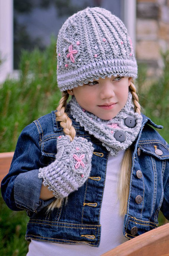 Graystone Kids Crochet Cable Set Hat Neck Warmer And Fingerless Mittens Kids 3-10 Pattern on Etsy, 5,46€
