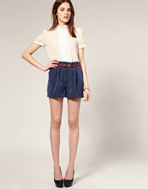 // cute.Discover Fashion, Blouses,  Minis, Blue Shorts, Outfit Ideas, Cute Outfits, Asos Buttons, Buttons Shoulder, Buttons Tops