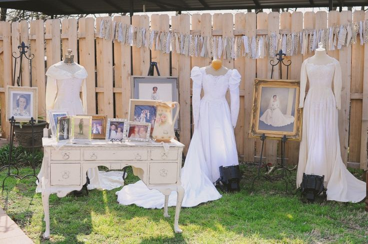 Mother & mother-in-law wedding gown displays at your wedding reception. Such a great way to honor relatives and gorgeous too!
