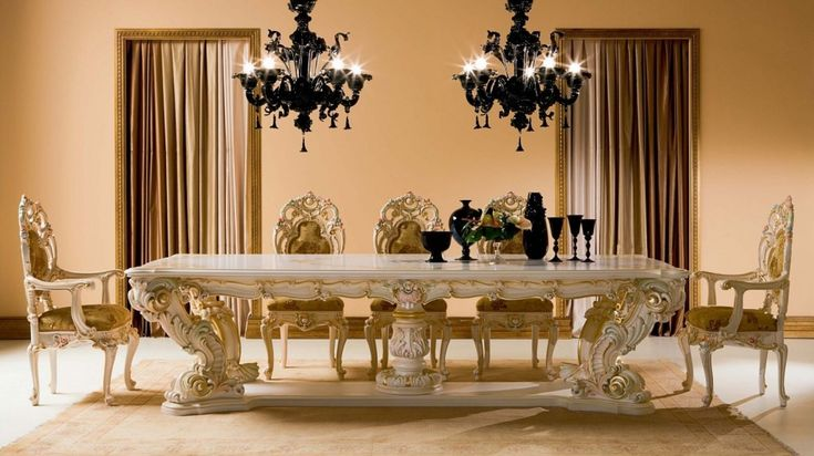Fancy And Luxury Classic Wood Dining Table | Dreamehome | Ref