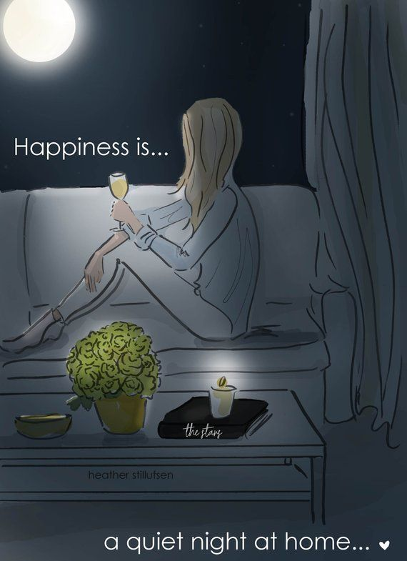 Happiness is A Quiet Night at Home – Heather Stillufsen – Wall Art for Women