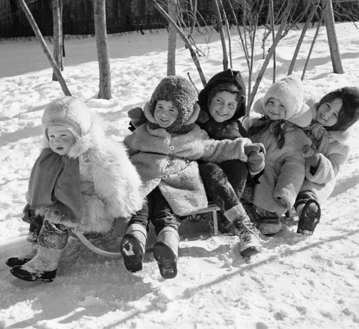 """So cute. They all just looked positively stuffed into their coats! Kind of like the kid brother in the movie """"A Christmas Story"""" when he couldn't put his arms down he was so packed into his snowsuit! LOL!"""