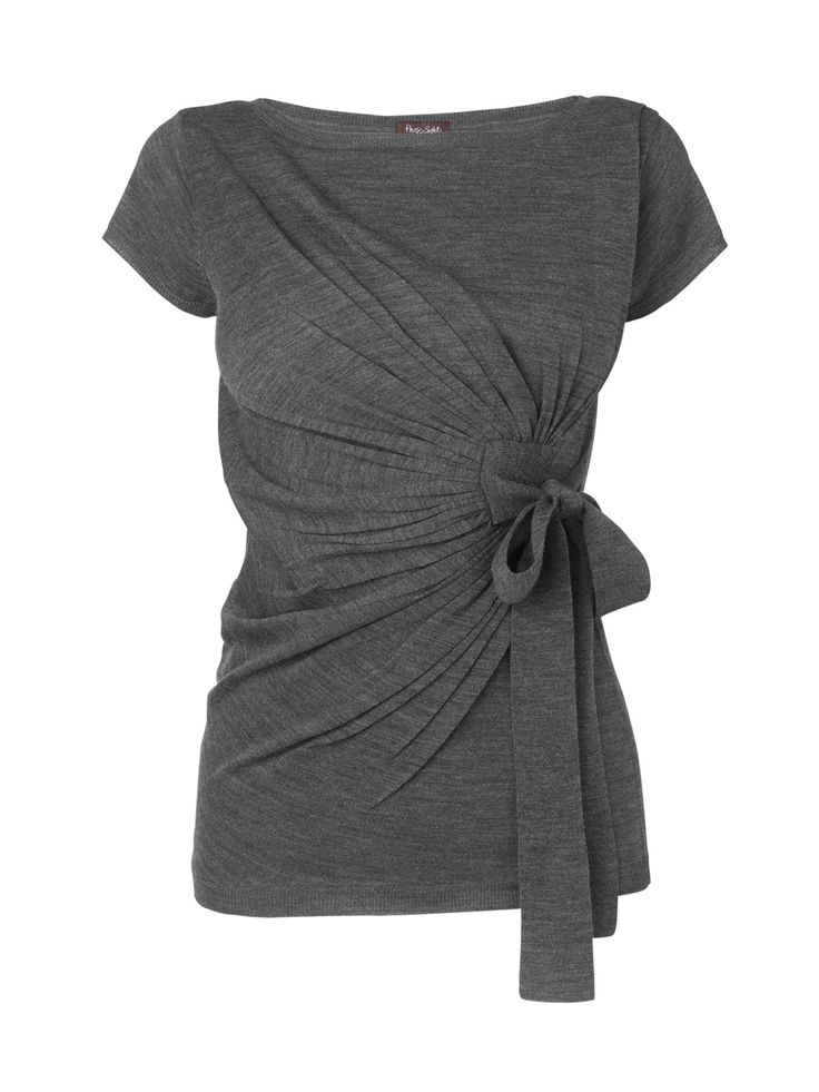 Charcoal Wrap Tee...Love this!Ties Sweaters, Bows T Shirts, Oversized T Shirts, Charcoal Tees, Bows Tshirt, T Shirts Repurposing, Size T Shirts, Oversized Shirts, Over Tshirt Diy