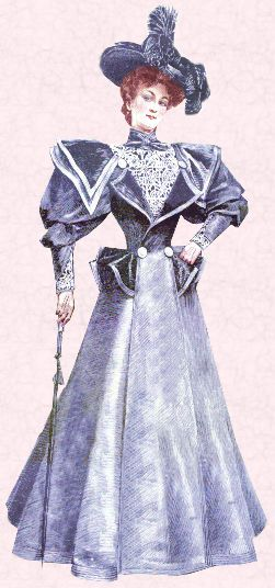 Tailor made suit of 1895.    There are similarities in the period 1885 with 1985 when women also showed their strength in the corporate workplace with Power Dressing through more masculine tailored, shoulder padded clothes. A similar broad shoulder trend occurred in the Utility Clothing era of the 1940s when women did work usually thought of as men's work.